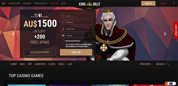 King Billy AUD Online Casino